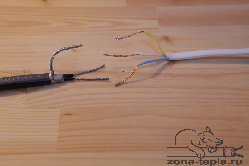 Саморегулирующийся нагревательный кабель-схема подключения-с заземлением