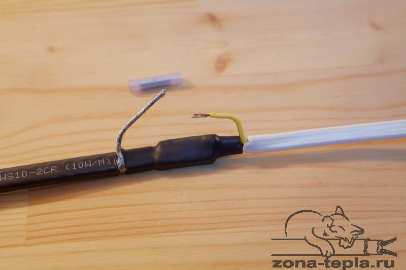 Питание греющего кабеля подключено