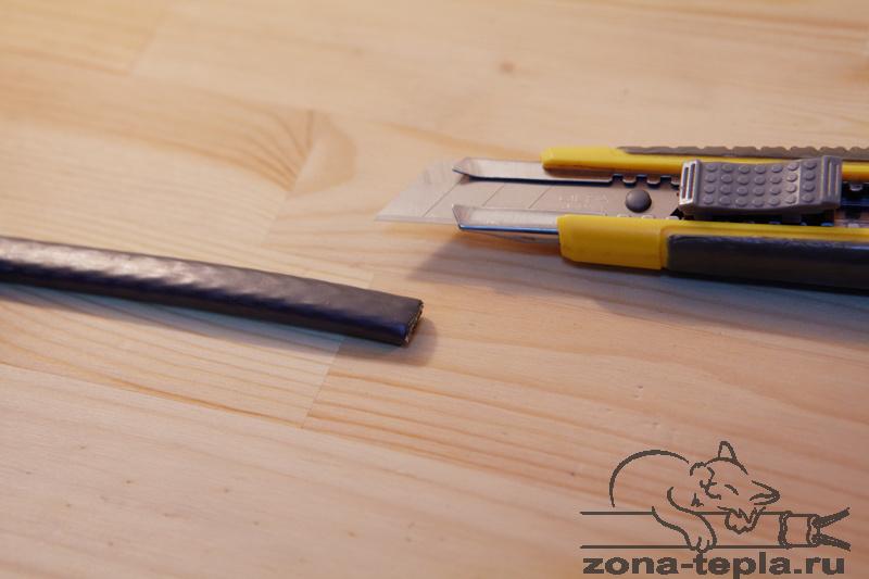 Разделываем конец саморегулирующегося нагревательного кабеля