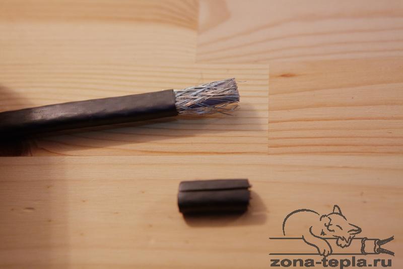 Саморегулирующийся нагревательный кабель-снимаем внешнюю изоляцию на 2 см