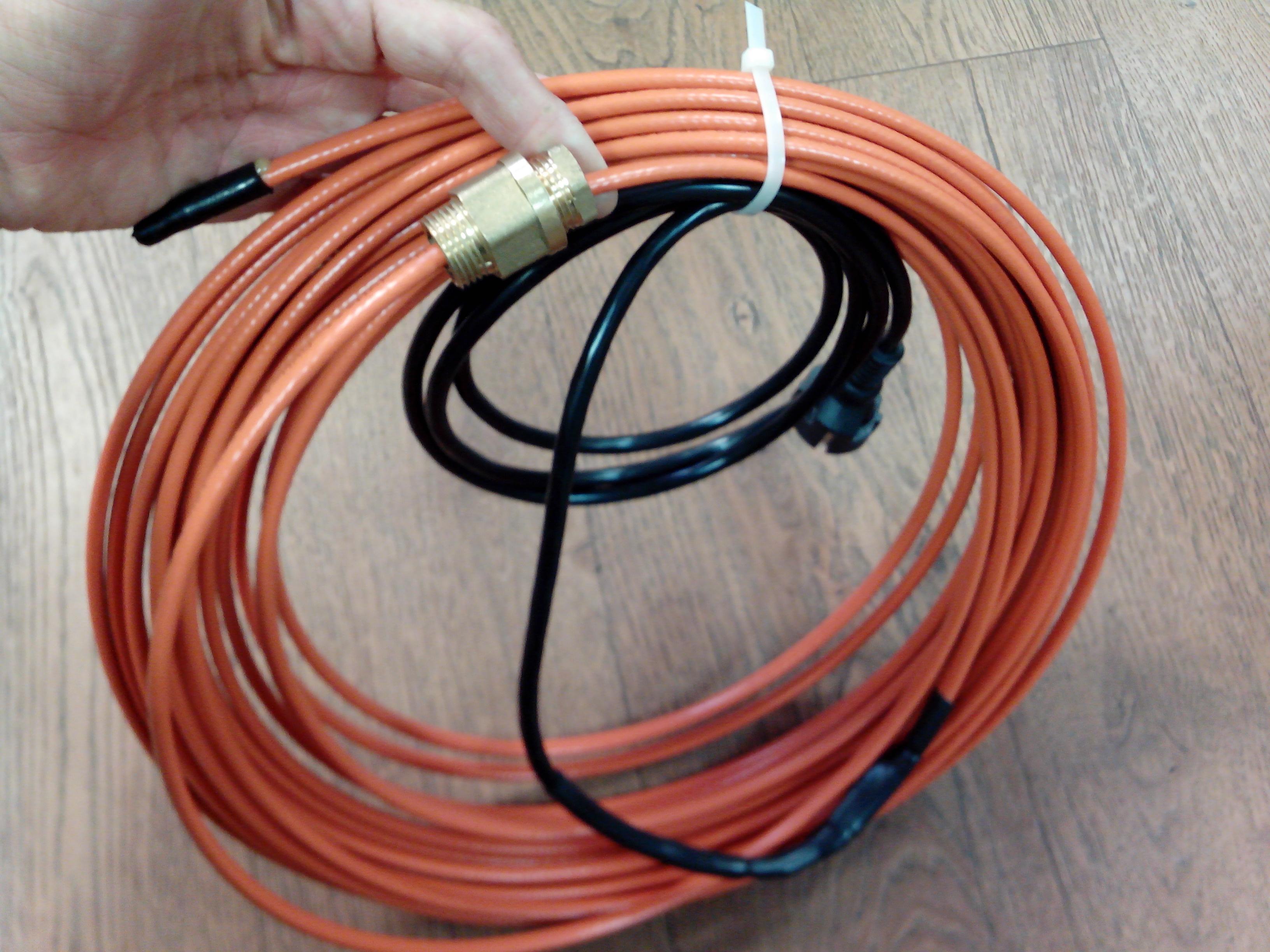 Греющий кабель внутри трубы DVU-13-готовый комплект
