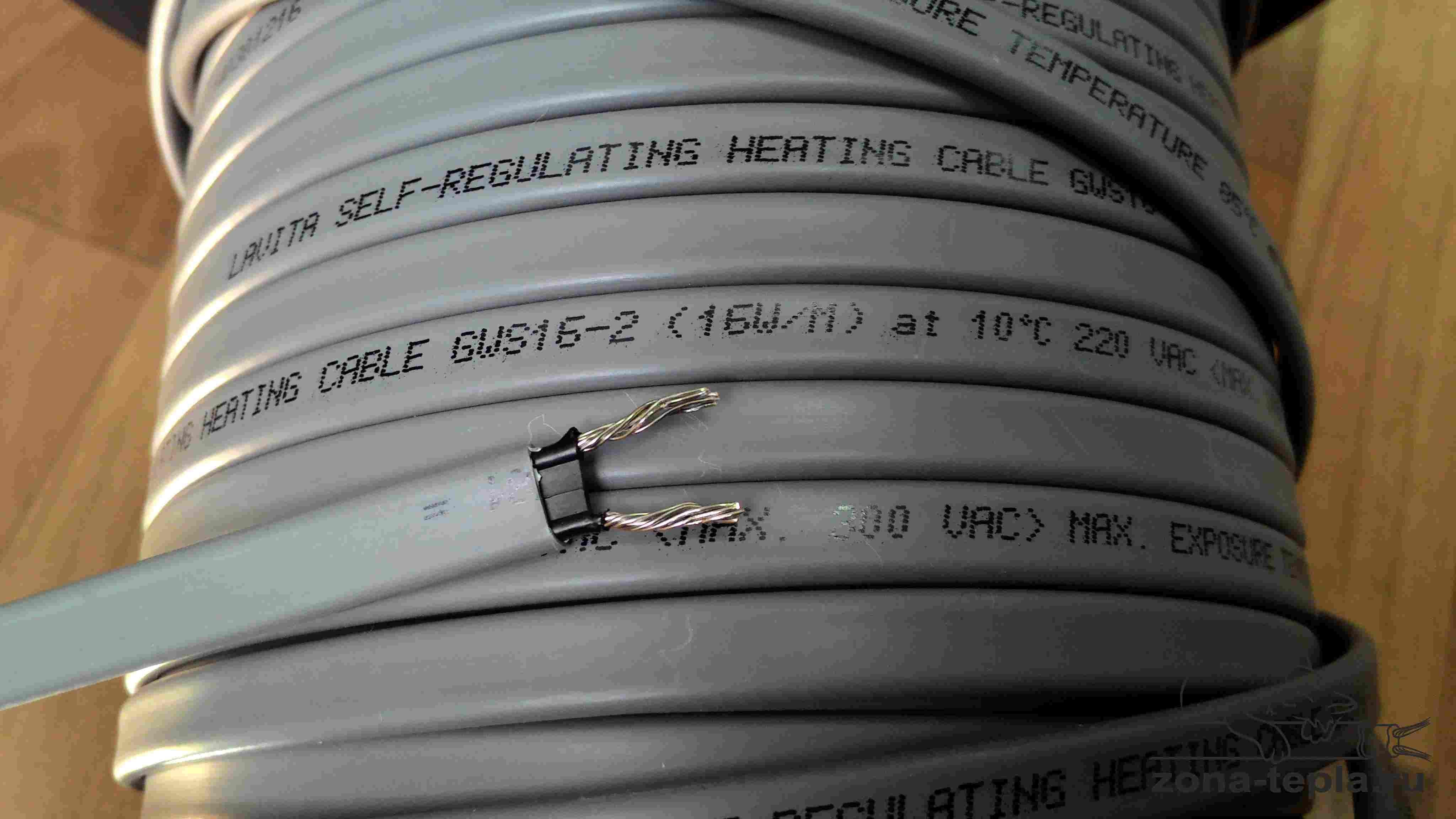 Греющий саморегулирующийся кабель для водопровода Lavita GWS16-2