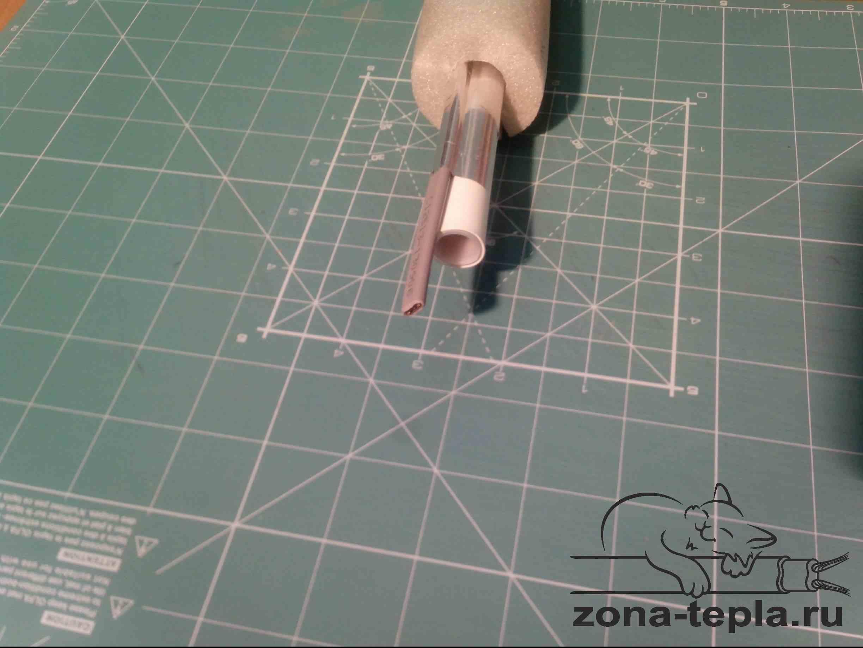 Обогрев труб греющим кабелем -труба металлопласт