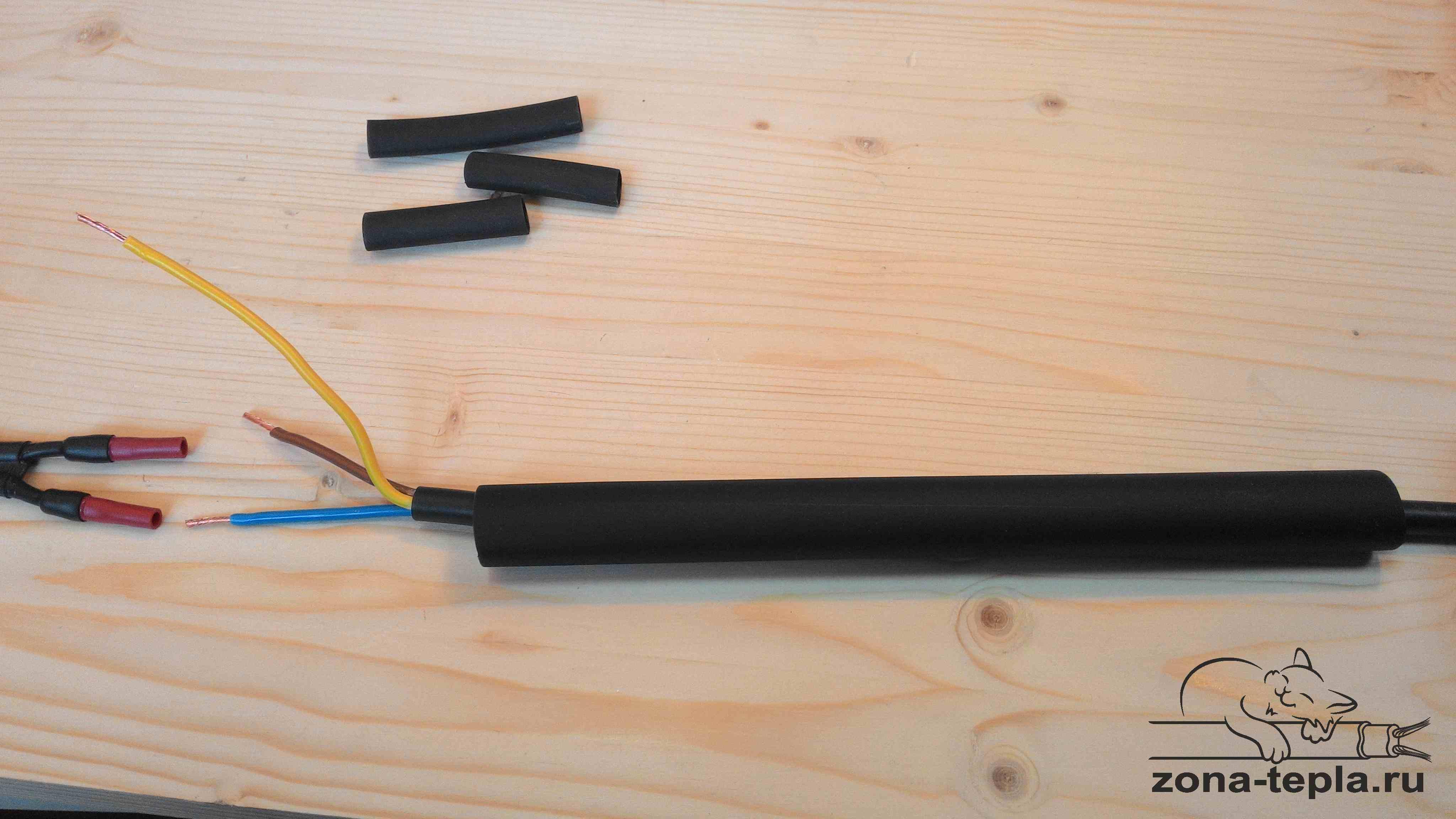 Подключение греющего кабеля для водопровода. 21-одеваем внешнюю термоусадочную муфту