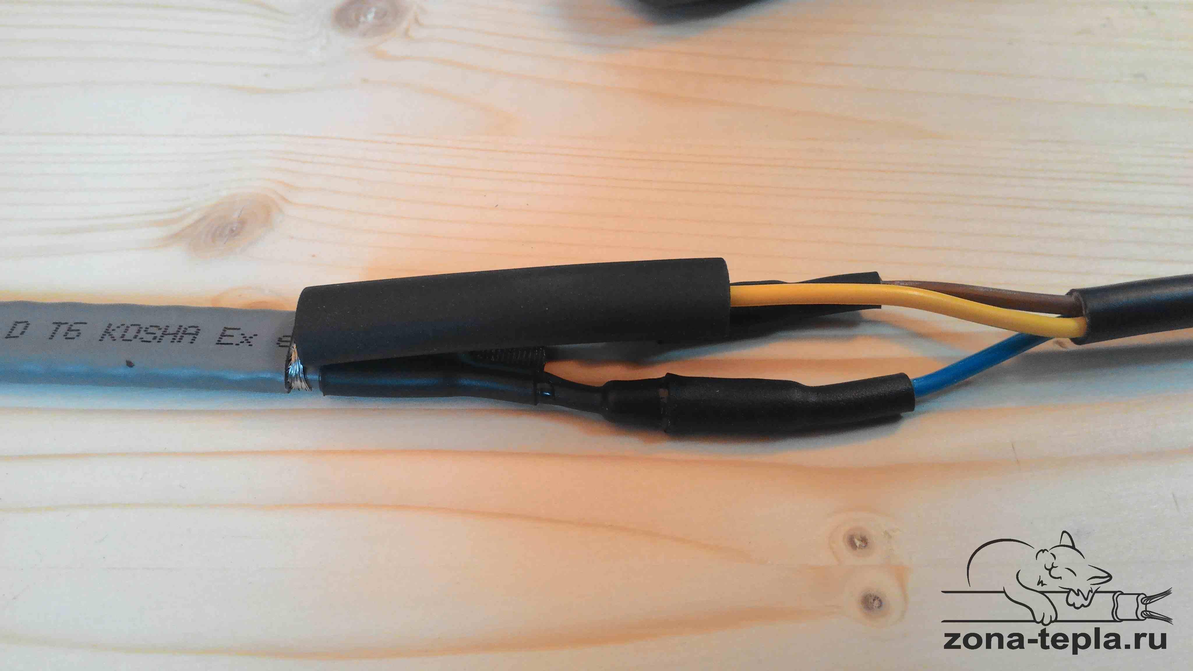 Подключение греющего кабеля. 33-сдвигаем термоусадку