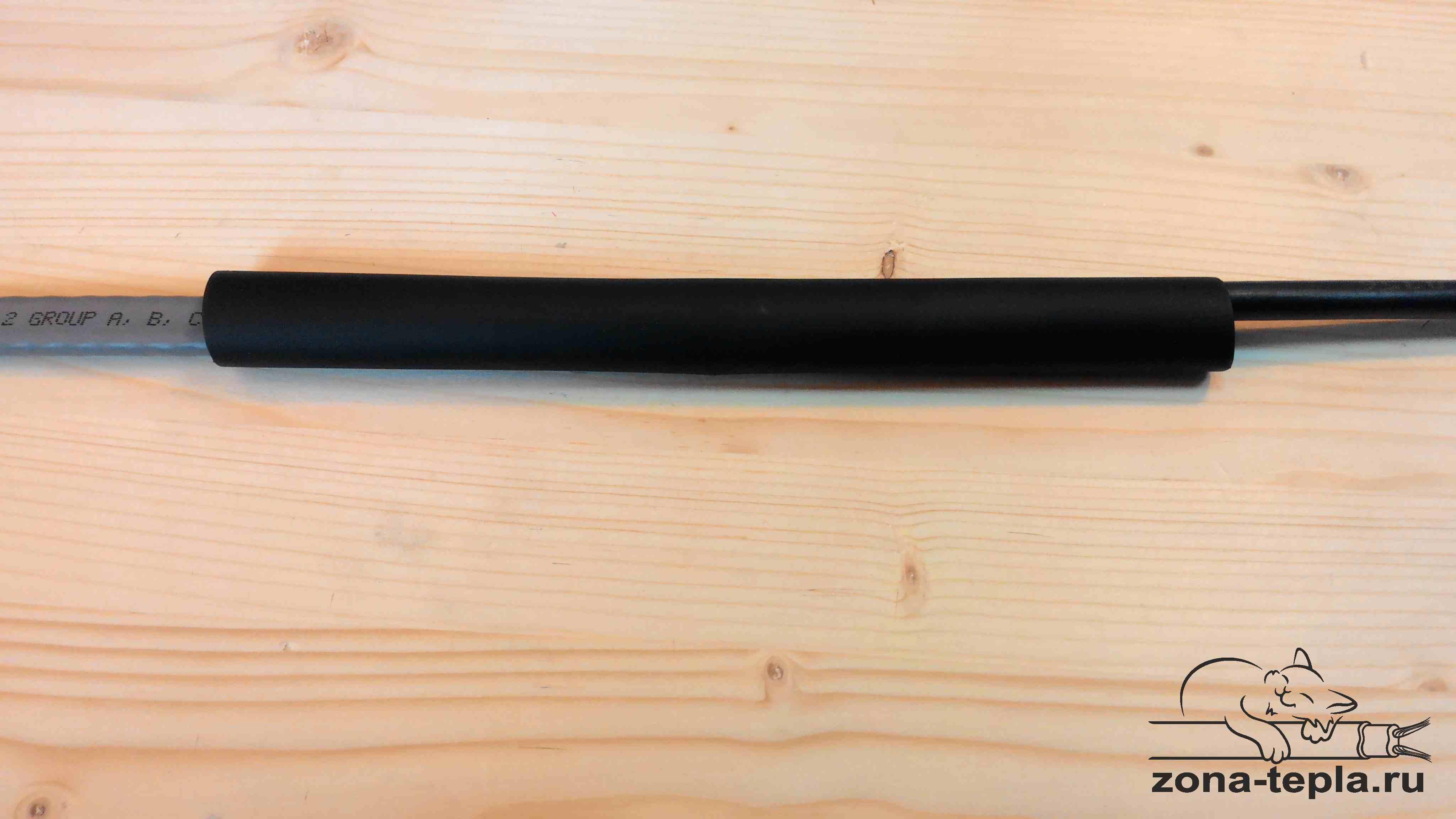 Подключение греющего кабеля. 37-соединение размещаем по центру