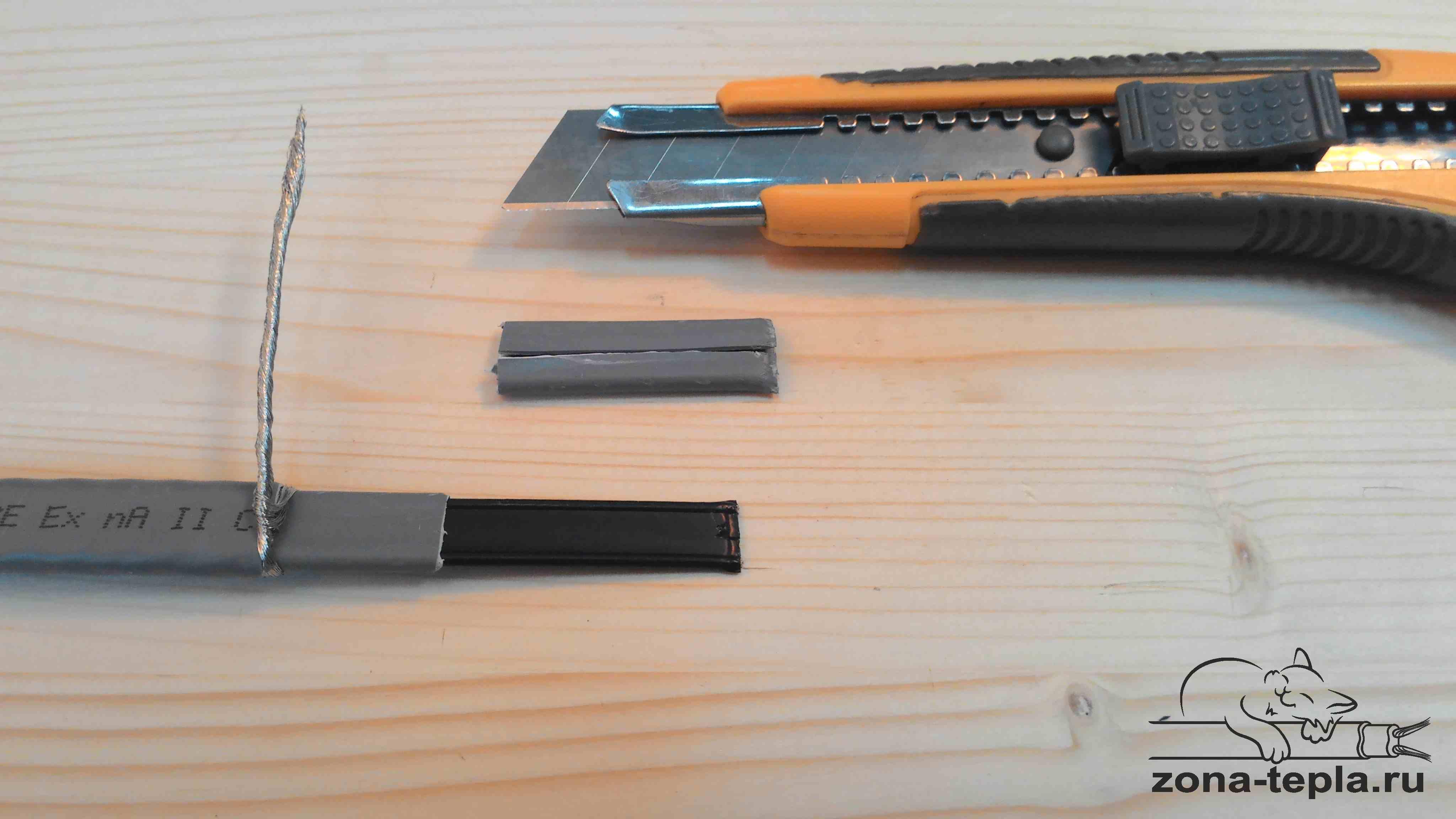Схема подключения греющего кабеля. 7-снимаем внутреннюю изоляцию