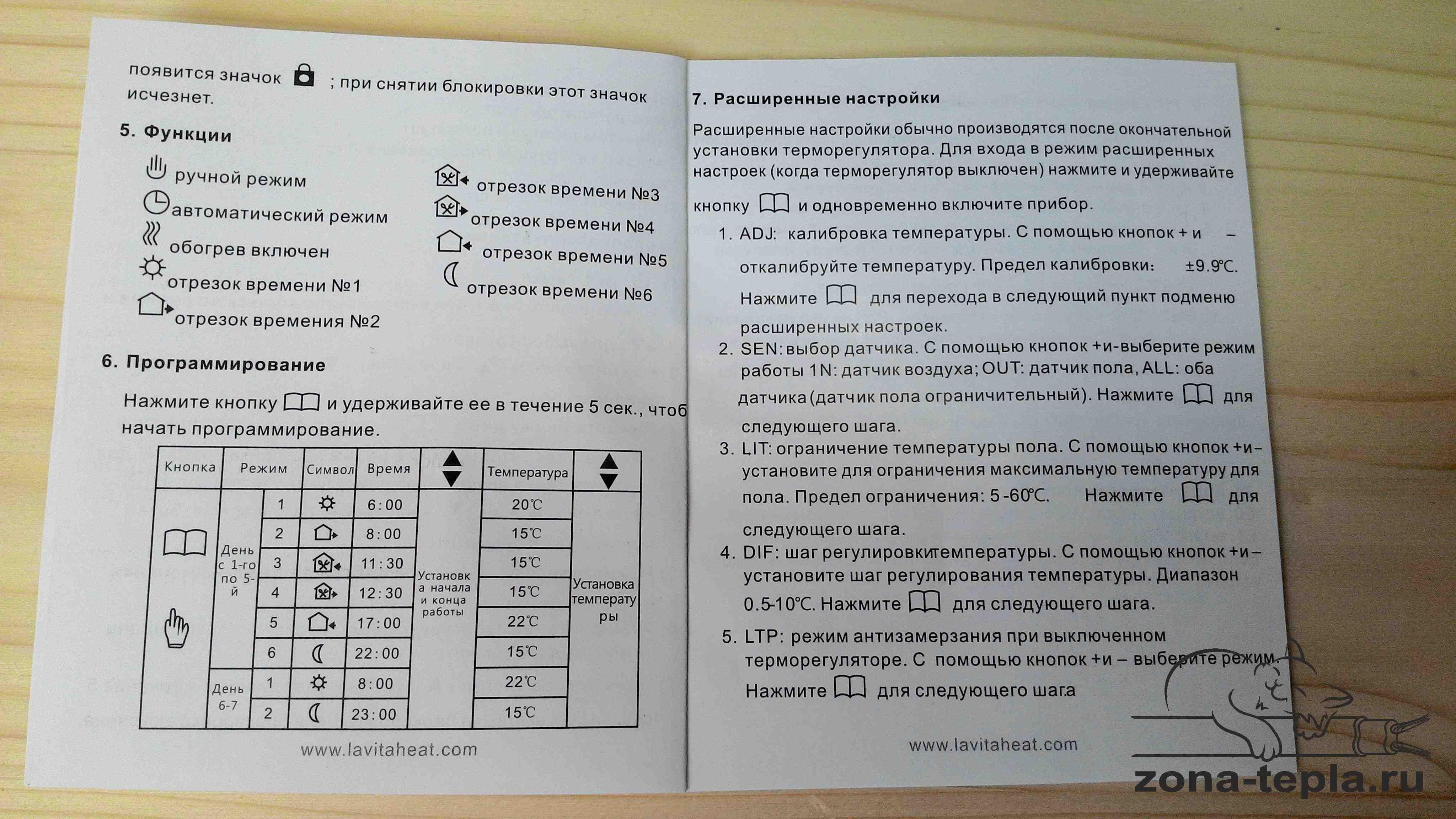 Терморегулятор для теплого пола Lavita E51.716 инструкция стр 2