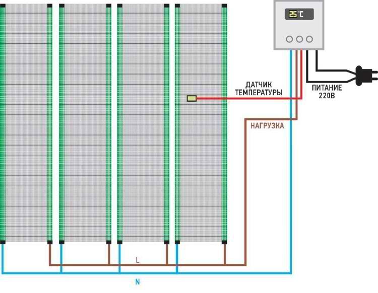 Принципиальная схема подключения нагревательной системы